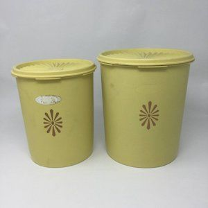 Vintage Tupperware Cannisters Yellow Set of 2